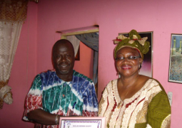 mrs sidibeh receiving her award