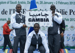 weightlifting prexy with his two athletes in dammam  saudi arabia