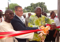 ribbon cutting symbolizing the opening of the centre