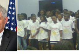 ambassador alford and students at the camp